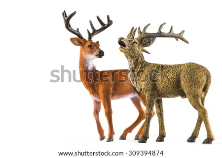 deer toy on white background