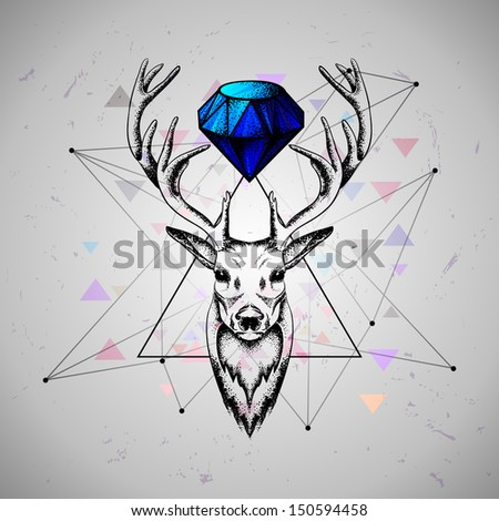 deer with diamond  .rasterized/bitmap version - stock photo