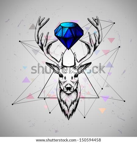 deer with diamond  .rasterized/bitmap version - stock photo