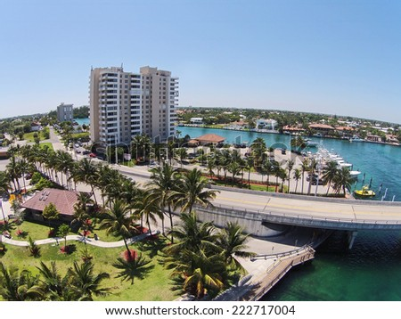 Deerfield Beach, Florida aerial scenery from flyover - stock photo