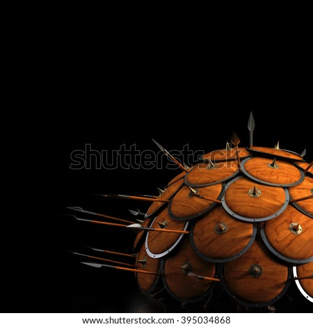Defense Formation - shield and spears - stock photo