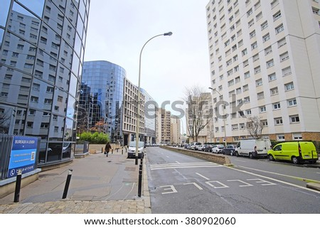 Defense, Paris, France, February 9, 2016: sky-scrapers in a Paris district Defense. Because of it's modern 