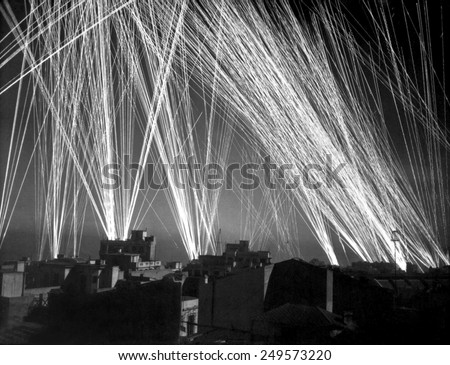 Defensive Ack-Ack fire in an Allied air raid on Algiers. During the WW2 Operation Torch invasion, French forces in Algeria were still fighting for the Axis. Nov. 8-11, 1942. - stock photo