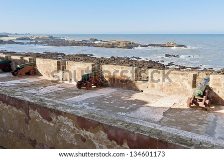 Defensive wall cannons at Essaouira's Medina, Morocco