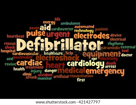 Defibrillator, word cloud concept on black background.