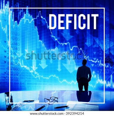 Deficit Financial Loss Debt Crisis Money Concept - stock photo