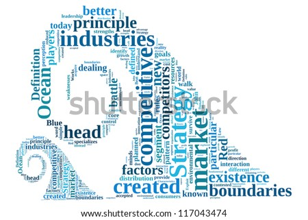 Definition of Blue Ocean Strategy in wave word collage - stock photo