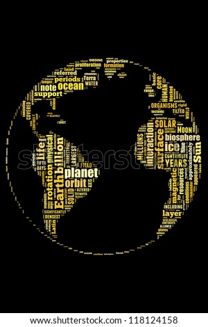 Definition of Earth in word collage - stock photo