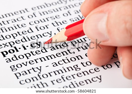 Definition of policy - stock photo