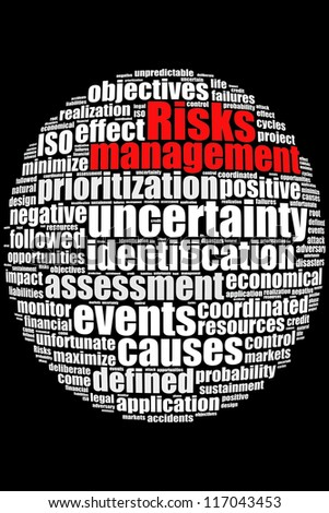 Definition of Risks Management in word collage