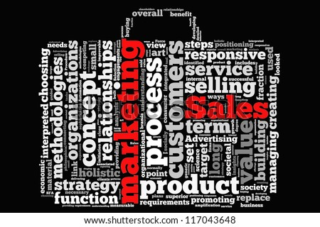 Definition of sales & marketing in word collage - stock photo