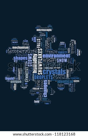 Definition of snowflake in word collage - stock photo