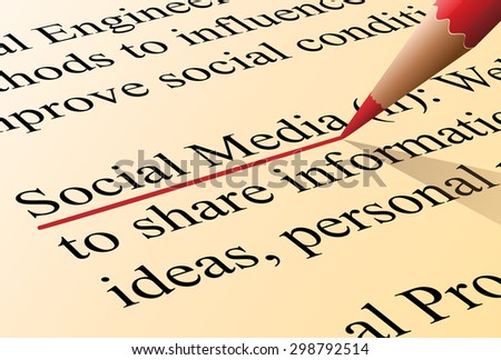 Definition of the term social media illustrated as it is in the dictionary - stock photo