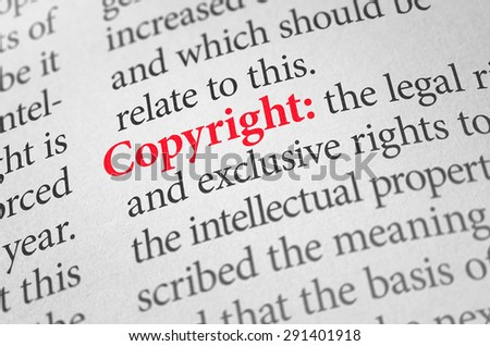 Definition of the word Copyright in a dictionary - stock photo