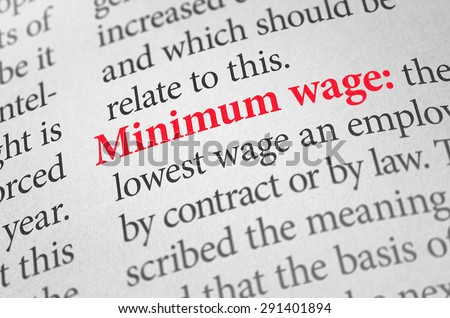 Definition of the word Minimum wage in a dictionary - stock photo
