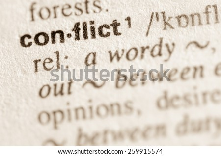 Definition of word conflict in dictionary - stock photo