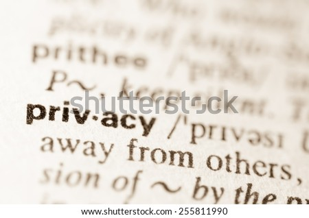 Definition of word privacy in dictionary - stock photo