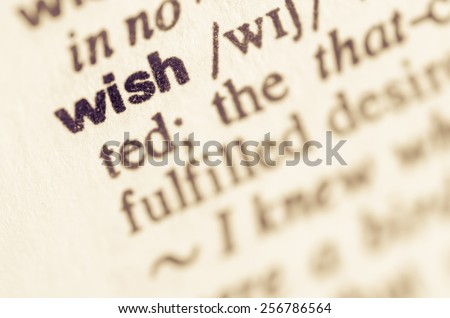 Definition of word wish in dictionary - stock photo