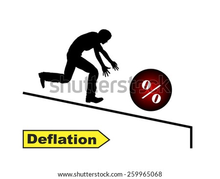 Deflation. Humorous concept sign of sinking interest rates when people running after their money - stock photo