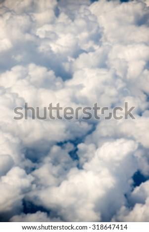 Defocous Cloudscape. Blue sky and white cloud. Sunny day. Cumulus cloud . - stock photo