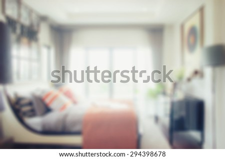 defocus blur abstract background of modern bedroom interior - stock photo