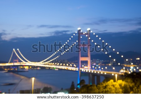Defocus,Hong Kong Bridge,It is beautiful Tsing Ma Bridge at sunset in Hong Kong
