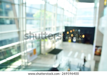 Defocus or Blurred Background of Lobby of Modern Office Building - stock photo