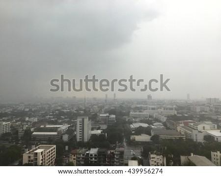 Defocus The City is overcast and raining. - stock photo