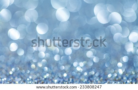 Defocused abstract blue christmas background with copy space