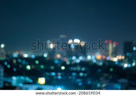 defocused abstract city night lights background - stock photo