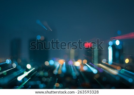 defocused abstract city night with explosion lights abstract background - stock photo