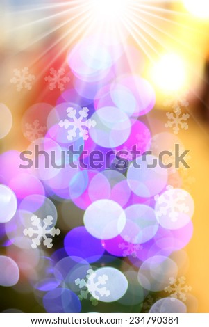 Defocused abstract light bokeh and snow flake, christmas background  - stock photo