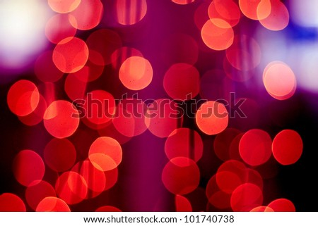 Defocused Abstract Red Bokeh Background. Christmas / Holiday / Street Lights - stock photo