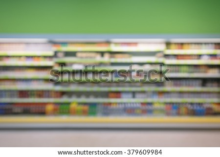 Defocused and blurry image of supermarket display shelves - stock photo