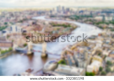 Defocused Backgroud with Aerial View of London, UK. Intentionally blurred post production for bokeh effect - stock photo