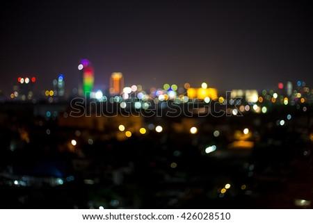 Defocused background bokeh ,City light blur bokeh , blured lighhts bokeh on Phnom Penh - stock photo