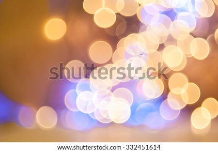 Defocused background, Glowing lights bokeh. Abstract holiday background