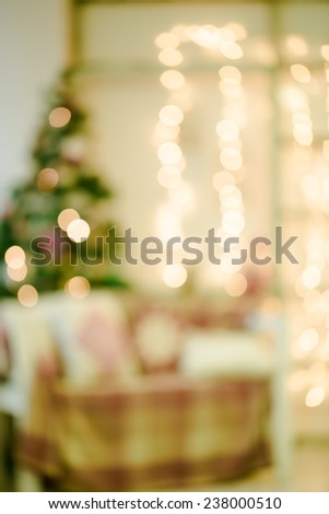 Defocused background Living room with christmas tree - stock photo