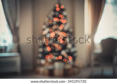 Defocused background Living room with tree - stock photo