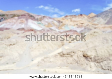 Defocused background of Artist's Palette, Death Valley, California. Intentionally blurred post production for bokeh effect - stock photo