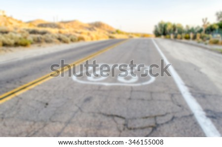 Defocused background of Historic Route 66 in California. Intentionally blurred post production for bokeh effect - stock photo