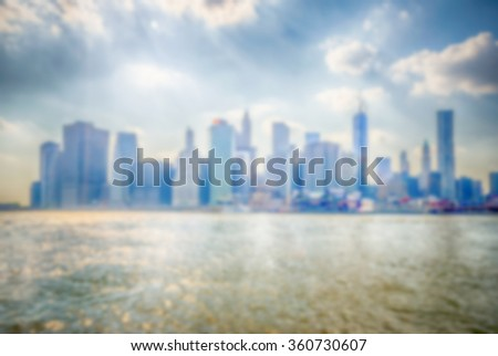 Defocused background of Manhattan Skyline, New York City, USA. Intentionally blurred post production for bokeh effect