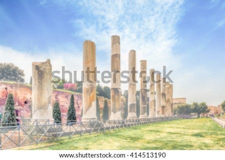 Defocused background with ancient columns of Venus Temple, Rome, Italy. Intentionally blurred post production for bokeh effect - stock photo