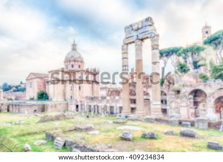 Defocused background with Forum of Caesar, ruins in Via dei Fori Imperiali, Rome, Italy. Intentionally blurred post production for bokeh effect - stock photo