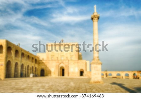 Defocused background with Sanctuary of Santa Maria di Leuca, in Salento, Apulia, Italy. Intentionally blurred post production for bokeh effect