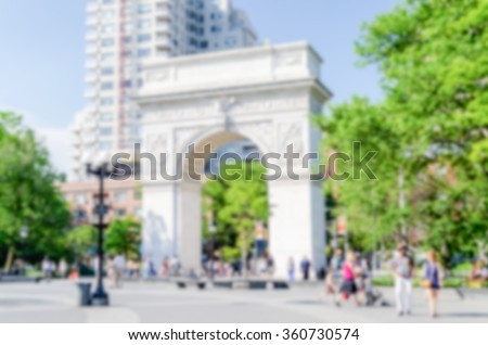 Defocused background with Washington Square Arch, New York City. Intentionally blurred post production for bokeh effect - stock photo