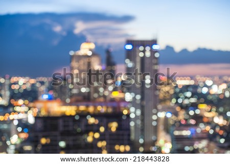 Defocused Bangkok, Thailand city lights  - stock photo