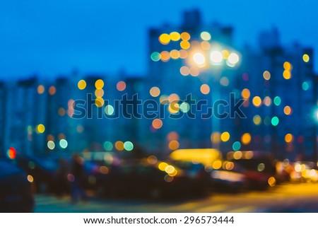 Defocused Blue Boke Bokeh Urban City Background Effect.  Design Backdrop - stock photo