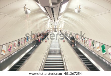 Defocused blurry backdrop of tube stairs - stock photo