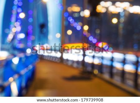 Defocused city lights - stock photo